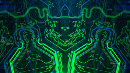 Digital Technology Concept Background. 3d Illustration. Wallpaper background. Digital integrated Technology. Circuit board futuristic server code processing.