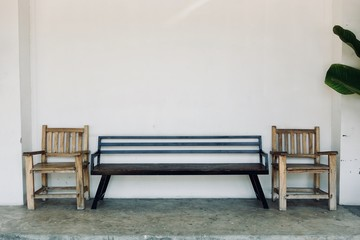 Bench with white wall background, decoration design concept