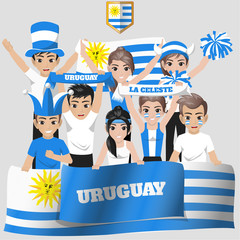 Set of Soccer / Football Supporter / Fans of Uruguay National Team