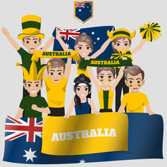 Set of Soccer / Football Supporter / Fans of Australia National Team