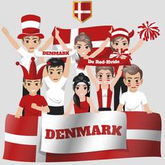 Set of Soccer / Football Supporter / Fans of Denmark National Team
