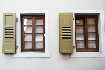 Classic retro vintage window on wall of house in Ladenburg town