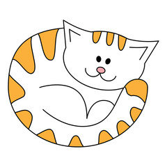 Cartoon cute lying cat. White cat with red strips. Illustration isolated on a white background in doodle style.