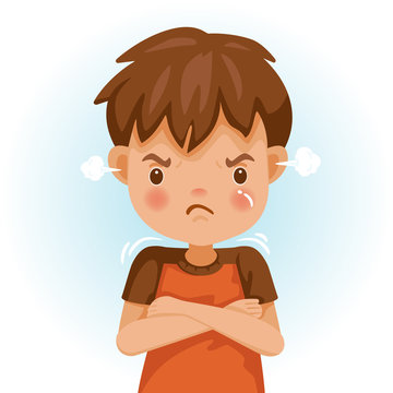 children angry Angry child. The boy in a red shirt is expressing anger. Excitement and frown. Cartoon characters, vector illustrations, isolated
