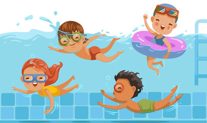 Children swimming Boys,girls in swimwear are  children's pool.Underwater view and on water.kids are having fun.Vacation in summer vacation Share with friends.Sports swimming in childhood water.