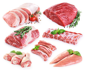 Door stickers Meat Collection of meat. Beef, pork, chicken. Different parts of meat.