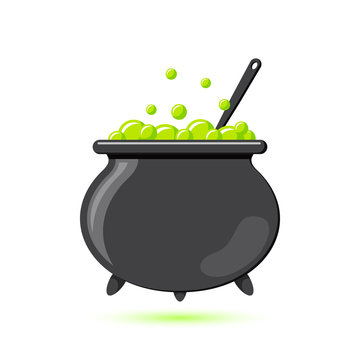Colored flat icon, vector design with shadow. Cartoon witches cauldron with potion, bubbles and spoon for illustration of magic, witchcraft, boiling potions. Symbol of Halloween