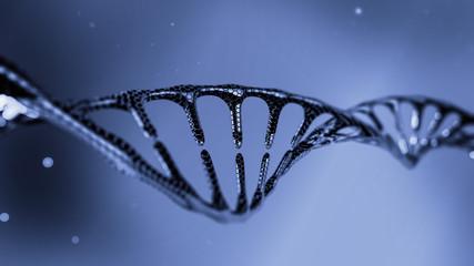 Cool stylish DNA molecules / Concept blue