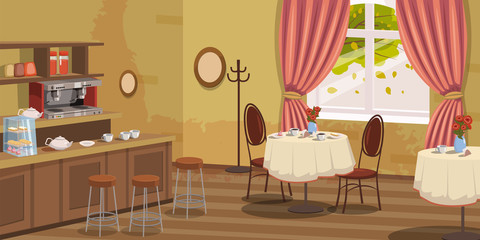 Coffee house, interior, rack, chairs, coffee machine, tables, vector, illustration, cartoon style, isolated