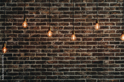 Fabulous Vintage Bulbs Hanging On Wires An The Background Of A Red Brick Wall Wiring 101 Akebretraxxcnl