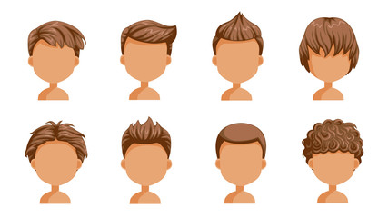Boy hair rear view set. head of a little boy. cute  hairstyle.Variety child modern fashion for assortment. long , short , curly hair. salon hairstyles trendy haircut of male. vector icon  isolated.