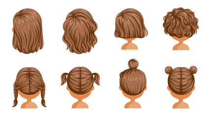 Little girl hair  rear view set. hair of a little girl. beautiful  hairstyle. child  modern fashion for assortment. long , short , curly hair. salon hairstyles and trendy haircut. vector icon set