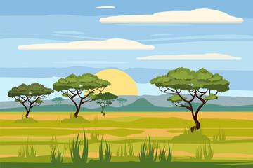 African landscape, savannah, sunset, vector, illustration, cartoon style, isolated