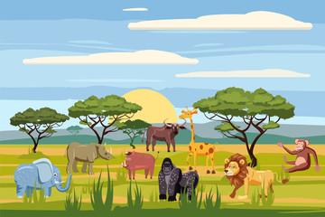 Set of cartoon african animals, background landscapes savanna. Safari animals , hippopotamus, rhinoceros, elephant, giraffe, lion, monkey, buffalo, cartoon style, vector, isolated