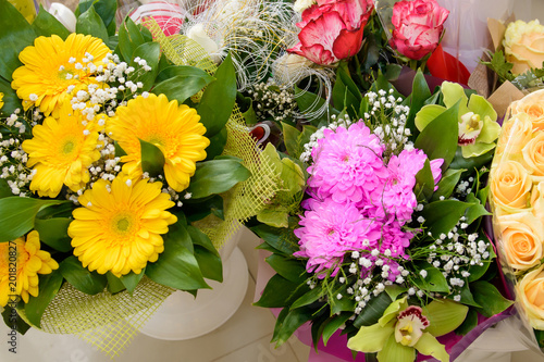 Bouquets Of Flowers Gift In Vases Top View A Lot Of Flowers For Our