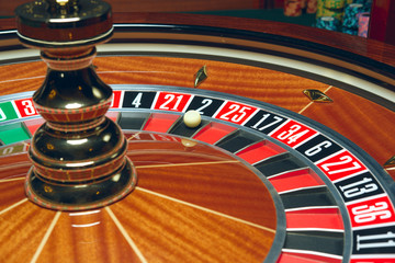 Casino Roulette with ball. Winning combination.