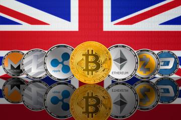 Popular cryptocurrency coins - Bitcoin (BTC), Litecoin (LTC), Ethereum (ETH), Monero (XMR), Zcash (ZEC), Ripple (XRP), Digitalcash (DASH) on the background of the flag of United Kingdom (UK)