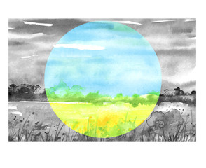 Watercolor painting, landscape of bright green grass, steppe, yellow flowers, plants, field, meadow against a bright blue sky. Watercolor ecological painting, logo. Environmental pollution.