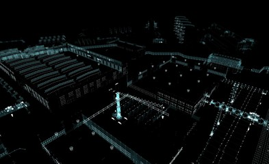 Abstract 3D rendered city of lines and dots