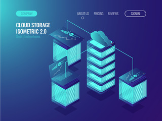 Cloud storage data, crm system access and device synchronization, Server conncetion, statistic and analysis charts isometric vector