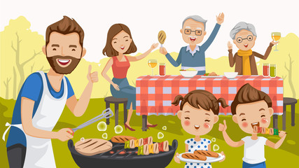 Barbecue family. father,mother,daughter,son,grandfather,grandmother,are barbecue in the nature of summer.big family.grilled meat,sausages, eat,drink.thumbs up,hand greetings, picnic,holiday travel.