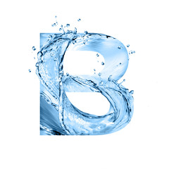 stylized font, text made of water splashes, capital letter b, isolated on white background