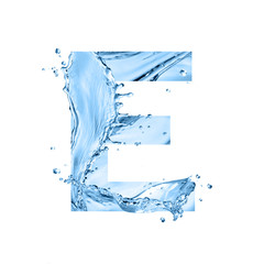 stylized font, text made of water splashes, capital letter e, isolated on white background