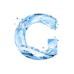 stylized font, text made of water splashes, capital letter g, isolated on white background