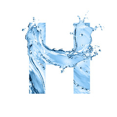 stylized font, text made of water splashes, capital letter h, isolated on white background