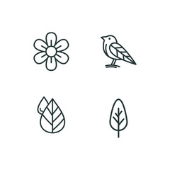 Icon vector, flower, bird, Drops of water and tree, line art - Vector illustration