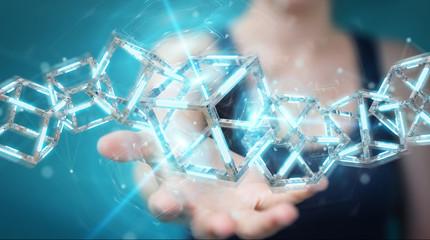 Businesswoman using digital blue Blockchain 3D rendering