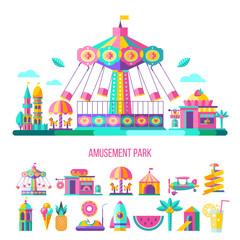 Amusement park. Vector clipart.