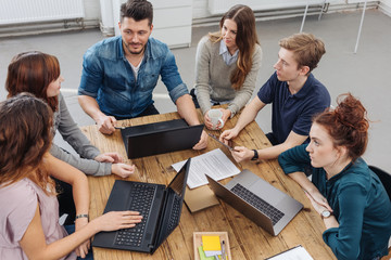 Group of people working over project in office