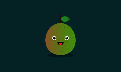 Guava Fruit Vector Illustration with Smiley Face