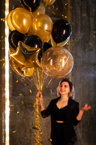 Happy Girl With Balloons Young Standing Her Birthday Smiling Confetti Are All Arounf Shes Very Beautiful
