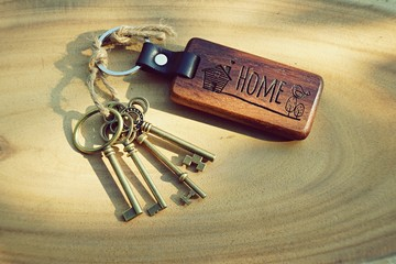Antique house key with wood home keyring
