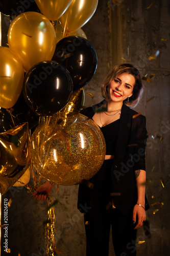 Happy Girl With Balloons Young Standing Her Birthday Smiling
