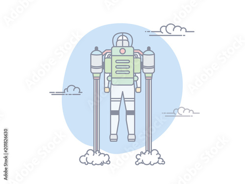Man Flying With Jetpack In Blue Sky With Clouds Start With Dense
