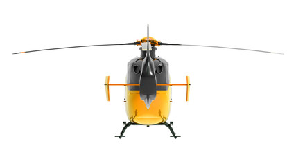Yellow helicopter isolated on the white background. 3d illustration.