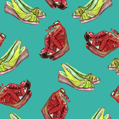 Orange bright red leather wedge shoes and green slingbacks shoes, hand painted watercolor illustration, seamless pattern on turquoise green background