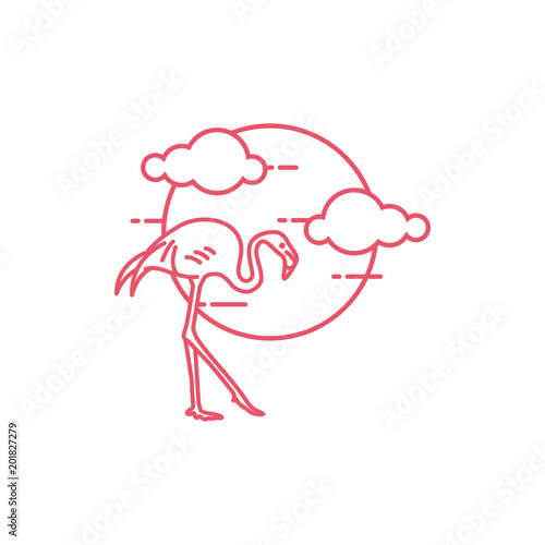 Flamingo outline logo Stock image and royalty free vector files on