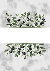 Template with Olive Brunches on Marble