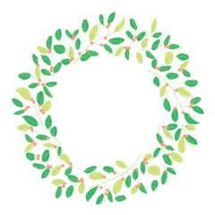 草で描かれたリース、オーナメント、飾り罫、ナチュナルな飾り(グリーン)|ベクターデータ