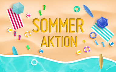 Sommeraktion. Top view summer background vector in beach with umbrellas, balls, swim ring, sunglasses, surfboard, hat, sandals, juice, starfish and sea.