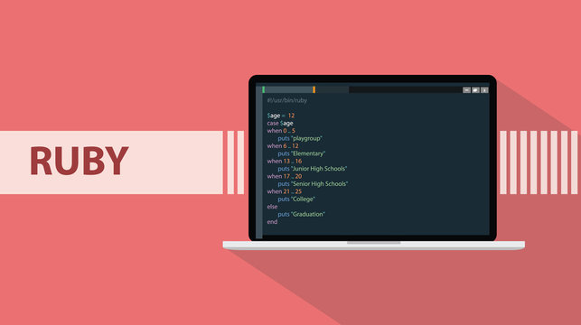 ruby programming language with laptop and real code script sample