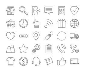 Online shopping icons set.