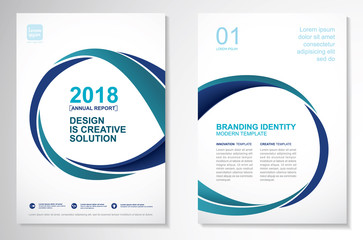 Template vector design for Brochure, Annual Report, Magazine, Poster, Corporate Presentation, Portfolio, Flyer, layout luxury with blue and green color size A4, Front and back, Infinity Concept.
