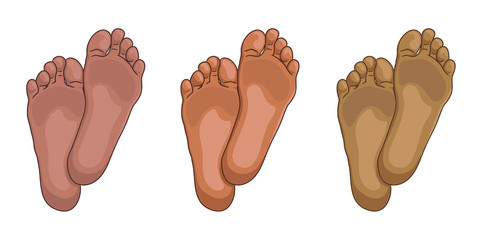 Female or male foot soles, barefoot, bottom view. Colours of african american skin type. Vector illustration, hand drawn cartoon style isolated on white.
