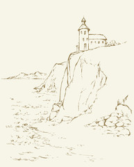 Lighthouse on a rock. Vector drawing
