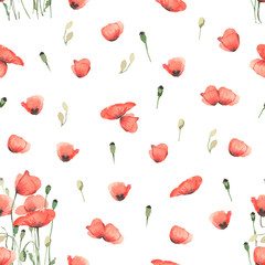Seamless background with red poppy flowers, in watercolor style.